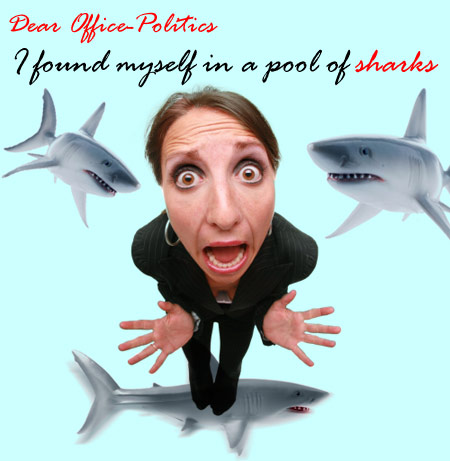 Composite illustration by Franke James, MFA.; shark swimming towards viewer ©istockphoto.com/Roberto A Sanchez, fish-eye lens woman ©istockphoto.com/Sharon Dominick, shark profile ©istockphoto.com/roberto adrian