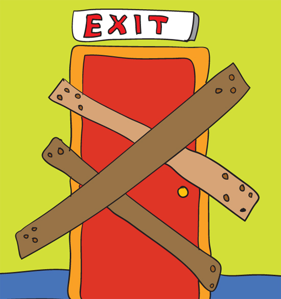 Exit illustration by MirekP, istockphoto with colors by Franke James