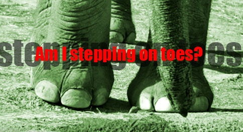 type illustration by franke james; elephant feet photo iStockphoto.com/GJS