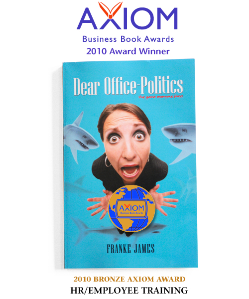 Photo imposition of Axiom Award medal on Dear Office-Politics book cover