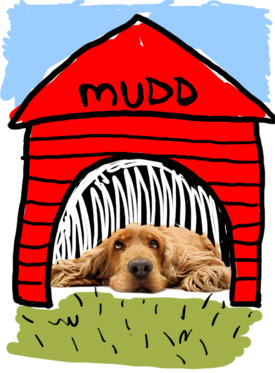 doghouse illustration by franke james; dog photo ©iStockphoto.com/fanelie rosier