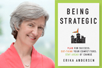 Erika Andersen with her Being Strategic book cover